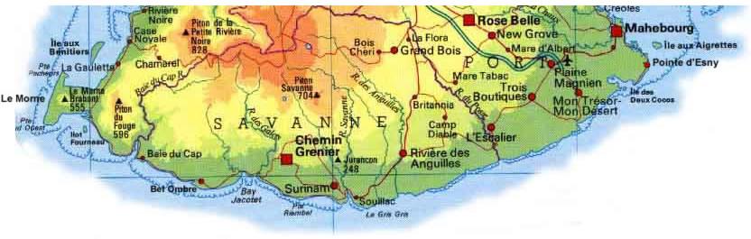 Carte Sud Ile Maurice